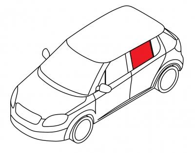Стекло заднее дверное левое BMW 3 SERIE - E-46 4D SED